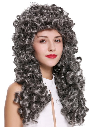 Quality wig women men baroque renaissance king nobleman long curls curly dark grey B17-2P-B-44