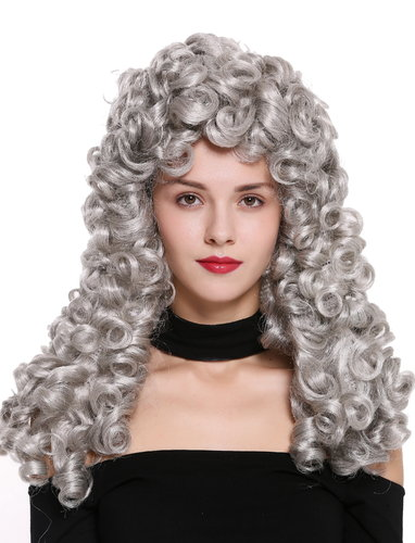 Quality wig women men baroque renaissance king nobleman long curls curly silver grey B17-2P-B-51