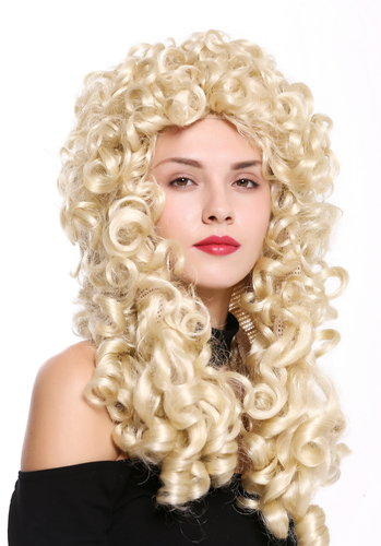 Quality wig women men baroque renaissance king nobleman long curls curly platinum blonde