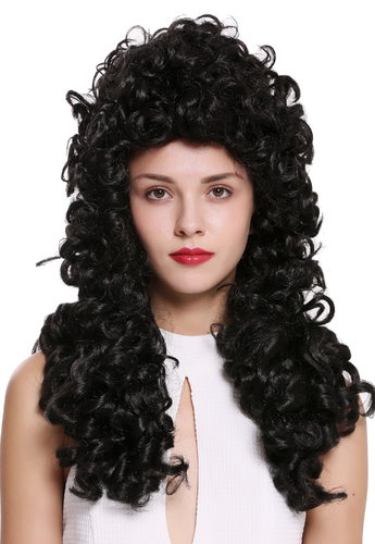 Quality wig women men baroque renaissance king nobleman long curls curly black B17-2P-B-2