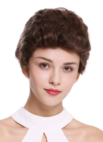 Quality women's wig men's wig human hair short wavy stylish pompadour quiff brown B-HH-12-8