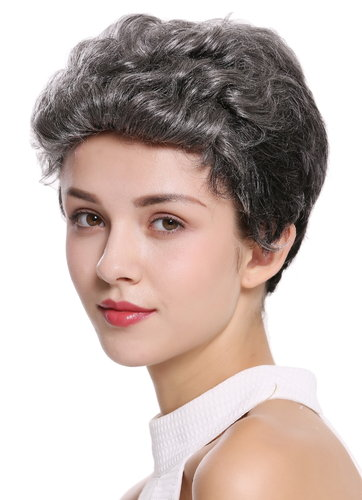 Quality women's wig men's wig human hair short wavy stylish pompadour quiff dark grey B-HH-12-GREY