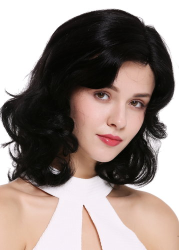 Quality women's wig human hair partial monofilament parting lady shoulder length wavy black