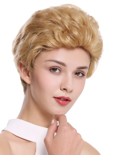 Quality women's wig men's wig human hair short wavy stylish pompadour quiff blonde B-HH-12-24B
