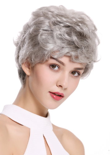 Quality women's wig men's wig human hair short wavy stylish silvery grey NG-HH-13-51