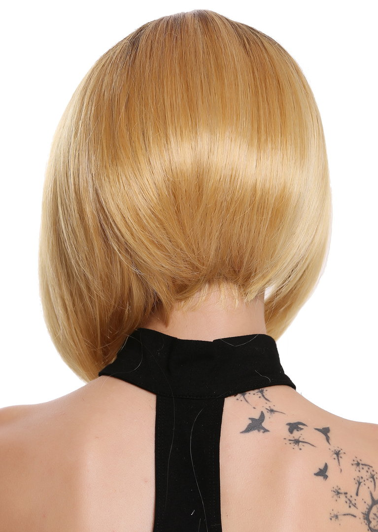 Perucke Lace Front Mono Kurz Longbob Scheitel Ombre Braun Blond