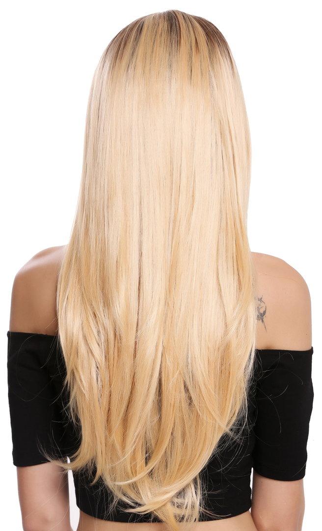 Perücke Lang Glatt Lace Front Ombre Braun Blond Dw2322 Lf