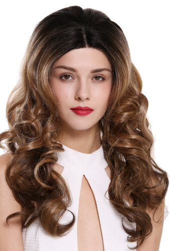 Perücke Lace-Front Teil-Mono Lang Locken Ombre Braun Blond DW2606-MF-47-OF27-30-613