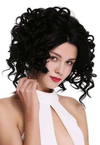 Quality women's wig lady lace front partial monofilament wild curly curls black MLU16-MF-1
