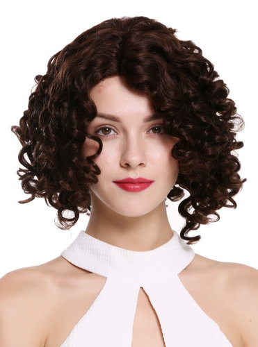 Quality women's wig human hair lace front partial monofilament parting curls black brown