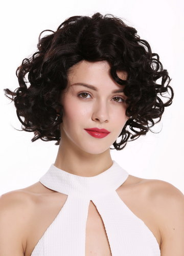 Human wig hair shoulder length lady beautiful curls partial mono lace dark brown natural colour