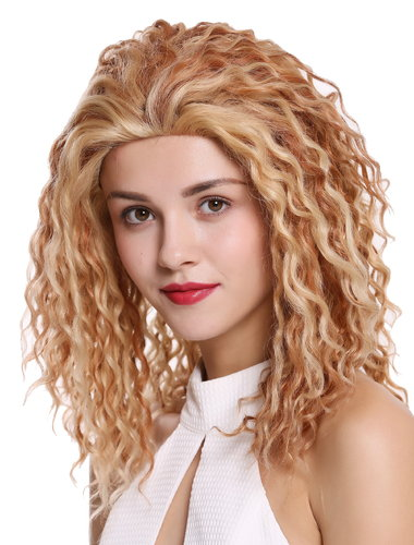 Perücke Echthaar lang Locken Lace-Front Kupfer Blond Mix UR-016-HH-LF-30/27/613
