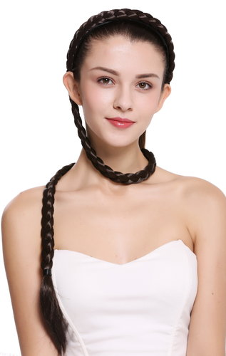 hairpiece plat plaited to Alice band very long livery brown 37,5 inches N1038-6