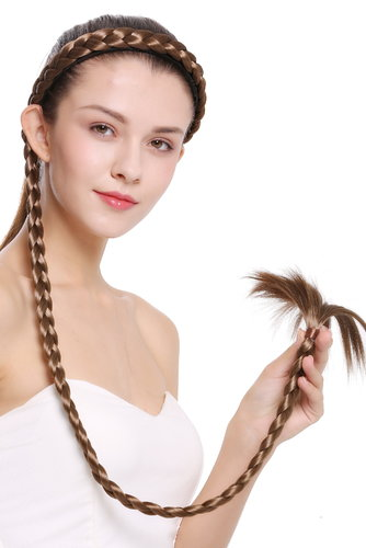 hairpiece plat plaited to Alice band very long livery brown light brown 37,5 inches N1038-12