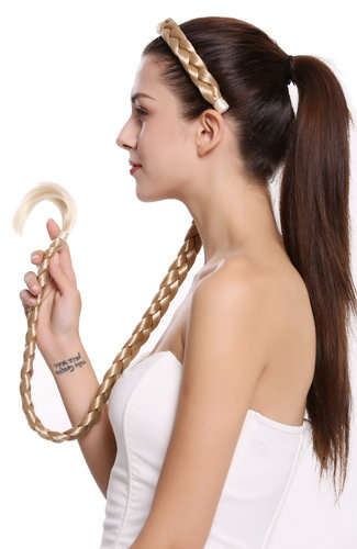 hairpiece plat plaited to Alice band very long livery blond fair blond 37,5 inches N1038-96T