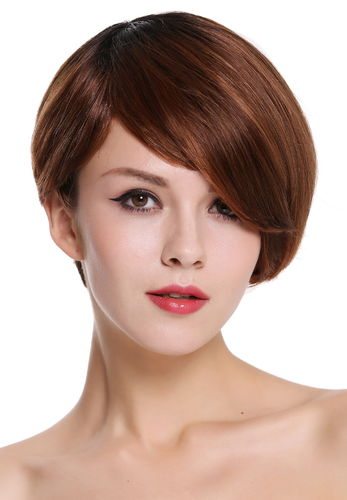Quality women's wig human hair short parting sleek lady voluminous black copper red highlights