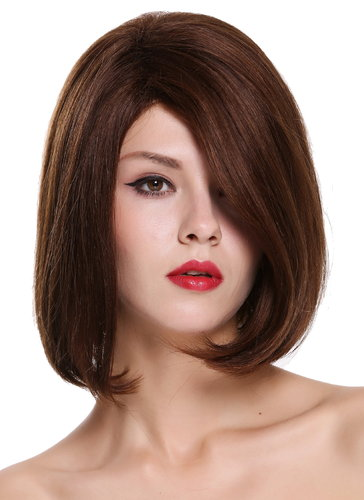 Quality women's wig human hair lady short long bob parting parted sleek maroon brown mix