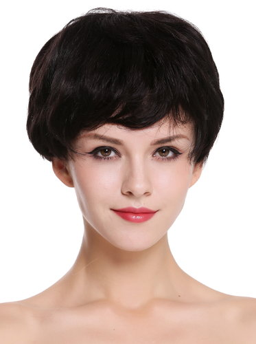 Quality women's wig human hair lady short pixie Page black wavy clips RGH-6994-HH-1B