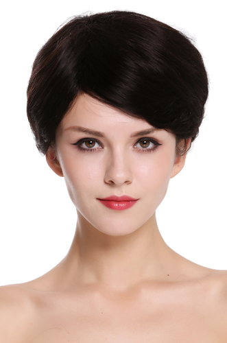 Quality women's wig human-hair parting short natural colour dark brown black-brown