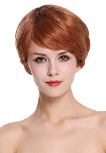 Quality women's wig human hair short parting parted copper brown fair reddish brown RGH-5330-HH-OP2