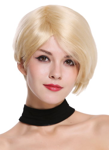 Quality women's wig human hair short parting sleek lady voluminous platinum blonde RGH-5334-HH-613