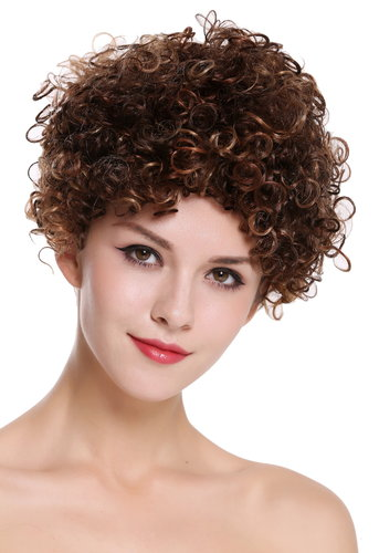 Quality women's wig human hair women's wig short frizzy maroon brown blonde highlights