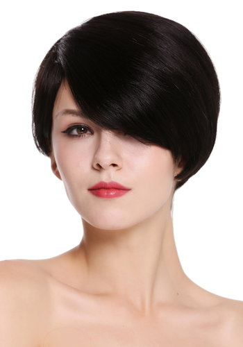 Quality women's wig human hair short parting sleek voluminous black RGH-5334-HH-1B