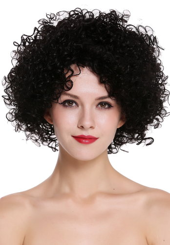 Quality women's wig human hair voluminous frizzy curly curls afro black UR-017-HH-1B