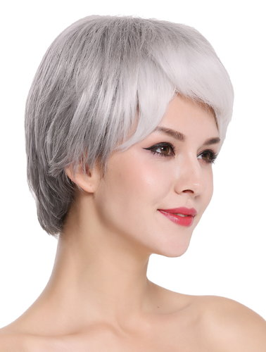 Quality women's wig lady women noble older short sleek black grey mix SXD0958-10/1001A/1B