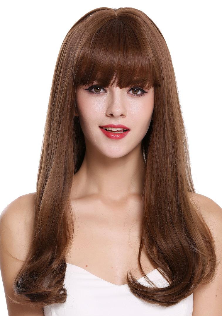 Quality women's wig lady long sleek wavy hair tips fringe brown mix  DL15 15/15