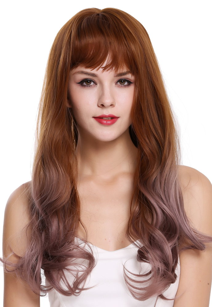 Quality Women S Wig Long Wavy Fringe Balayage Fair Copper Brown Rose