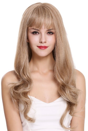 Perücke lang Pony wellig Blond Mix H950D-27/613A