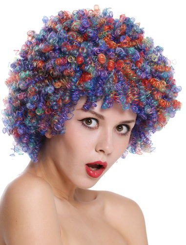 Party wig women men clown clown's wig afro curls Halloween carnival fancy dress colourful