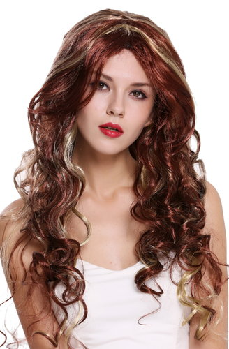 Party wig women fancy dress long curly diva brown blonde mottled highlights middle parting 91578A