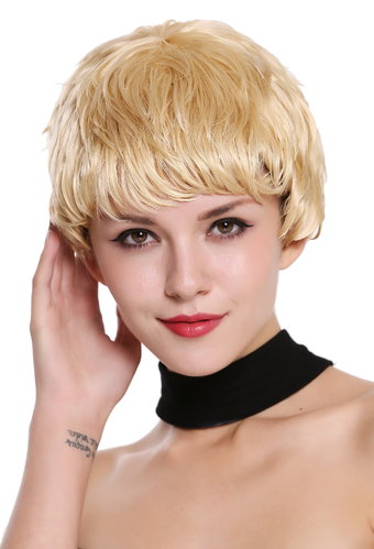 Quality women's wig human hair short wet look platinum blonde fair blonde RGH-5938A-HH-613