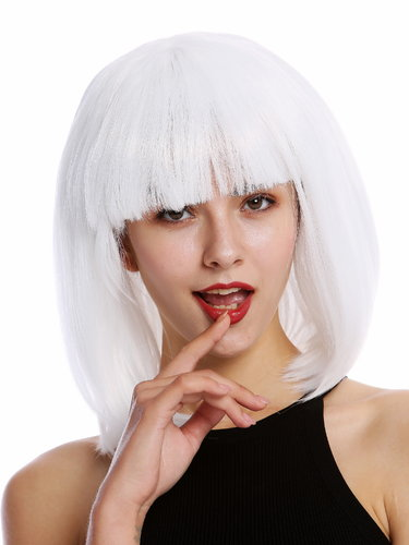 0073-3-P60 Lady Party Wig Halloween short Longbob wide bangs fringe Disco Dancer
