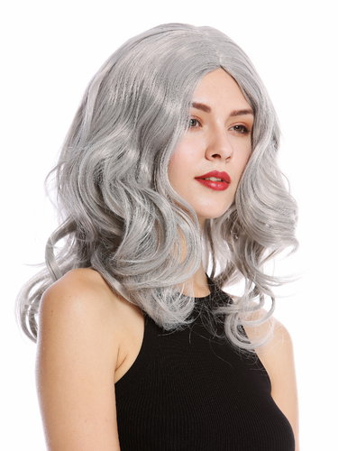 90831-ZA68E Lady party wig long wavy middle-parting light silvery gray grey