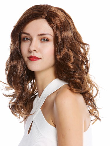 90831-ZA6A Lady party wig long wavy middle-parting brown
