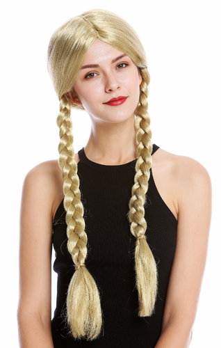 Lady party wig Halloween long braided plaits middle parting schoolgirl girly Lolita Look blond
