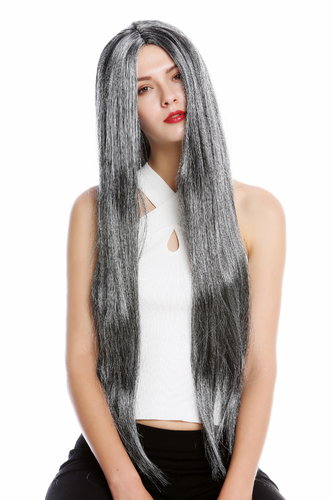 Man party wig Carnival extremely long straight smooth middle parting black dusted mottled gray grey
