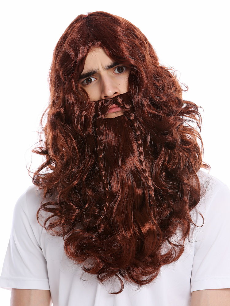a80f2fddb68 90760-A+B-ZA340B Wig Beard Set braided Halloween long wild Viking Northman