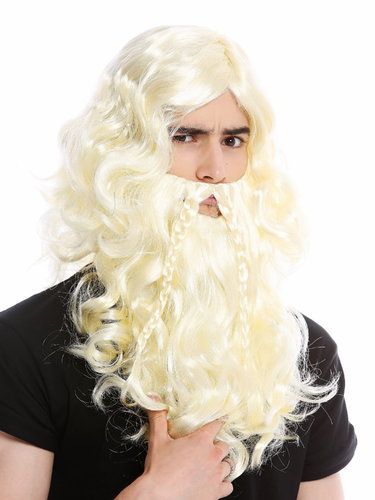 90760-A+B-ZA615 Wig Beard Set braided Halloween long wild Viking Northman Barbarian Dwarf Blond