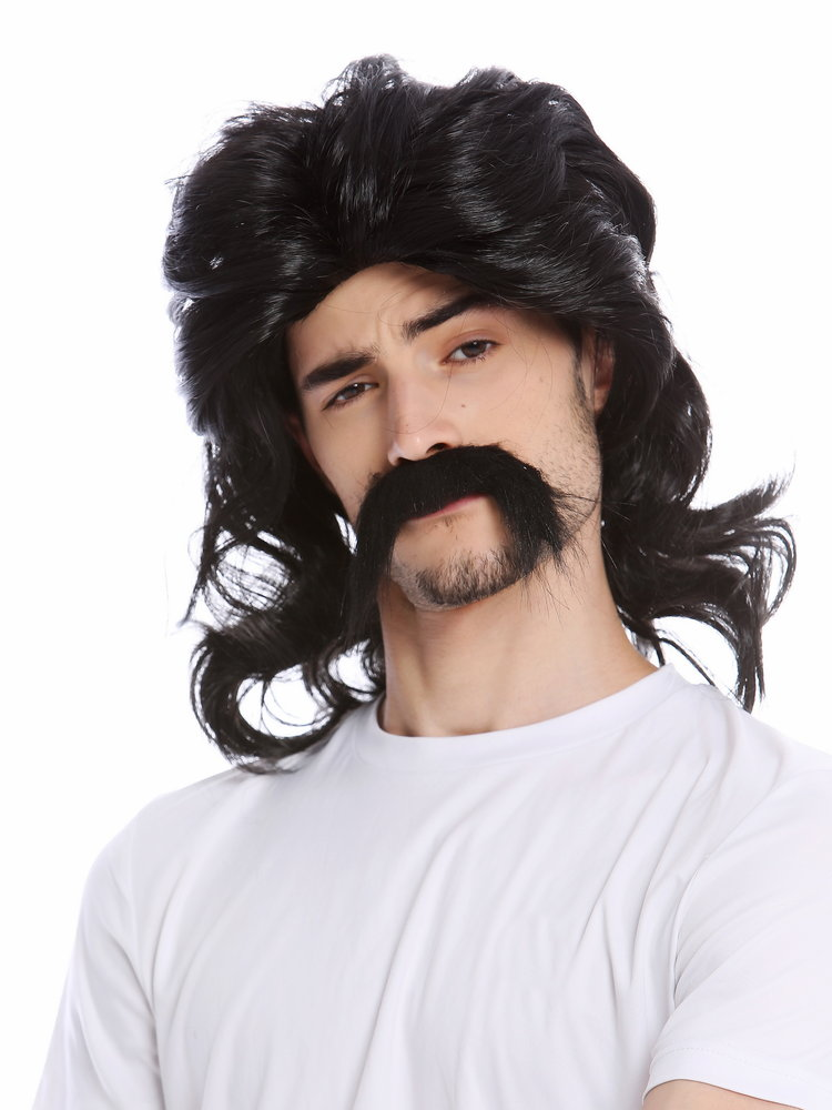 Middle Parting Dark Brown Men/'s Curly Fancy Dress Wig /& Moustache