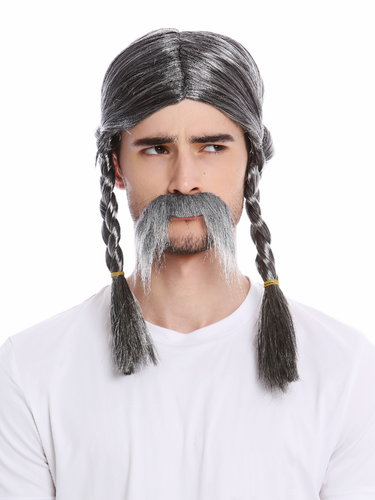 Man Party Wig & Mustache Set gray mottled long braids braided plaited old Gaul Viking Norman Celt