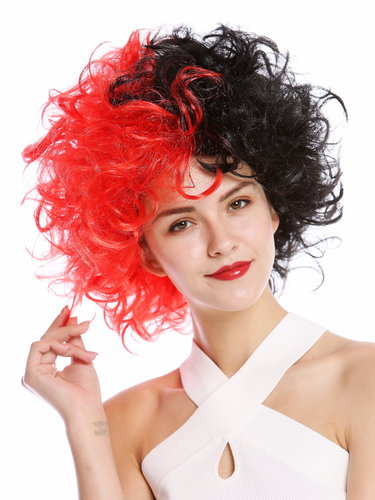 Lady Man Party Wig Halloween Evil Diva curly unruly mass of hair curled half black half red