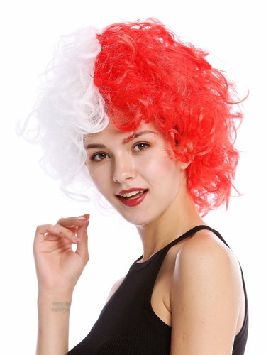 Lady Man Party Wig Evil Crazy Diva two-faced curly unruly mass of hair curled half red half white