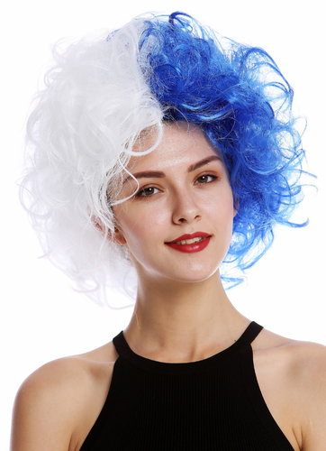 Lady Man Party Wig Evil Crazy Diva two-faced curly unruly mass of hair curled half white half blue