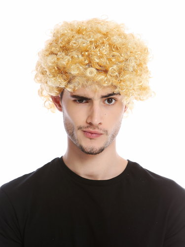 Wig Men Women Halloween Carnival Fool Foolish looking frizzy curls curled short mop afro blond