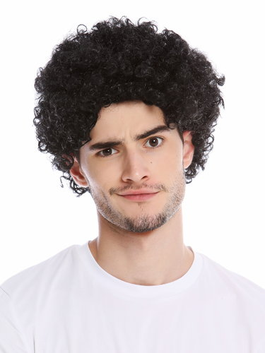 Wig Men Women Halloween Carnival Fool Foolish looking frizzy curls curled short mop afro black