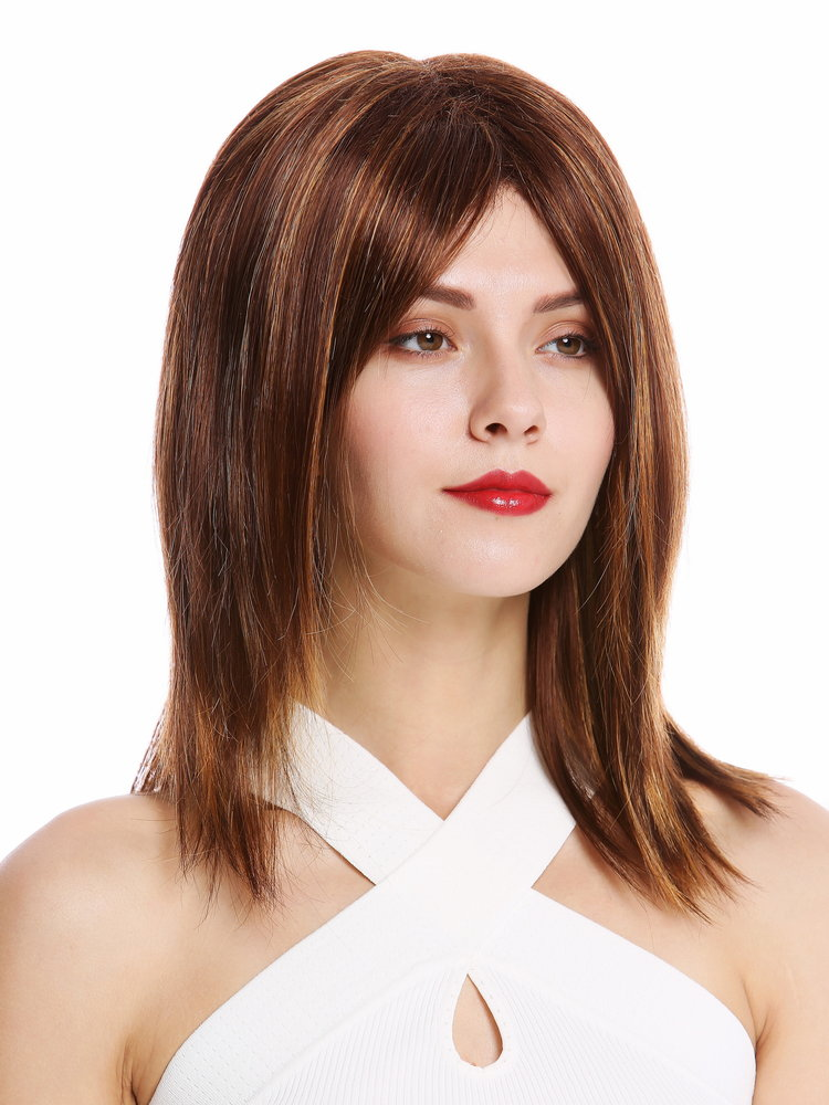 17/'/' Long Straight No Bangs Chocolate Brown Cosplay Wig NEW